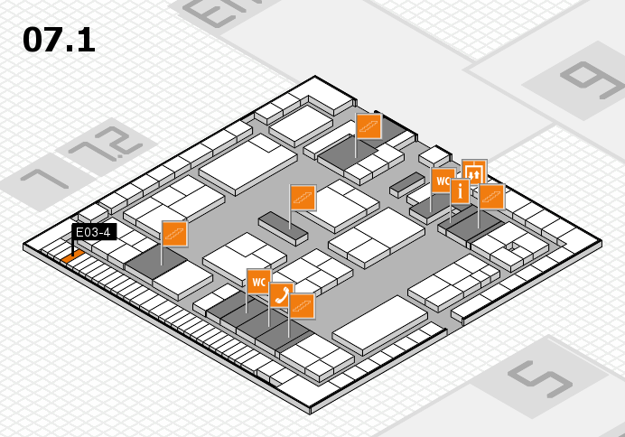 K 2016 hall map (Hall 7, level 1): stand E03-4