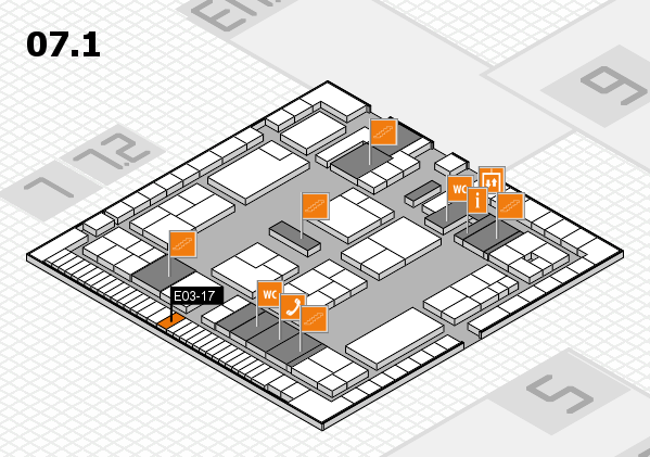 K 2016 hall map (Hall 7, level 1): stand E03-17