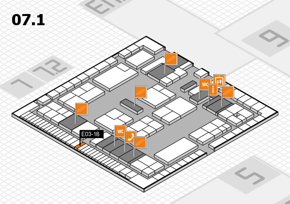 K 2016 hall map (Hall 7, level 1): stand E03-18