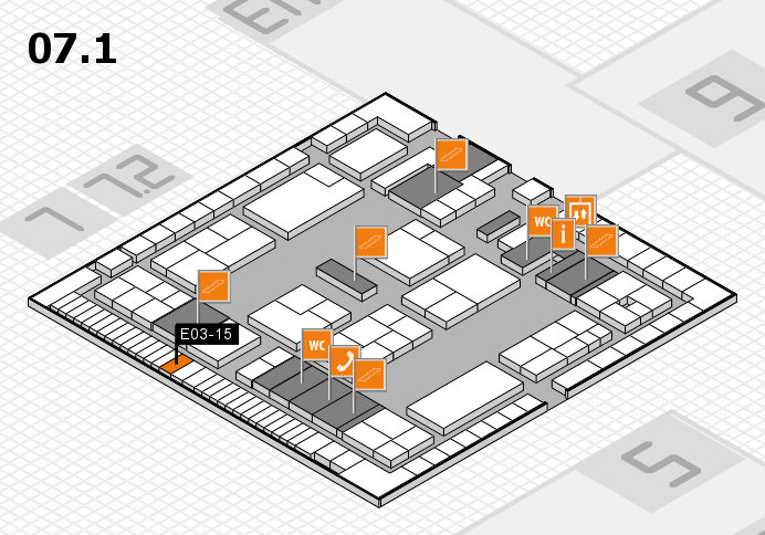 K 2016 hall map (Hall 7, level 1): stand E03-15