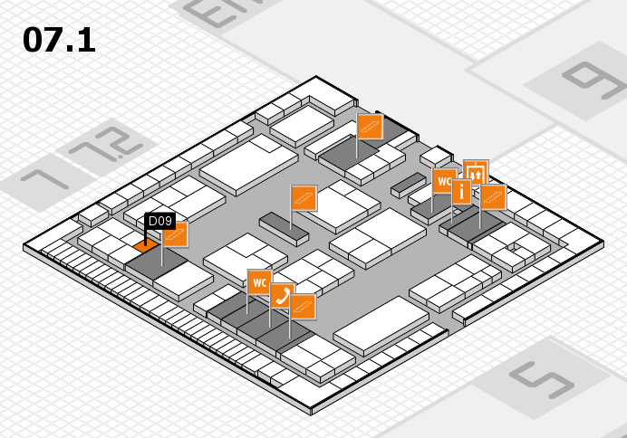 K 2016 hall map (Hall 7, level 1): stand D09