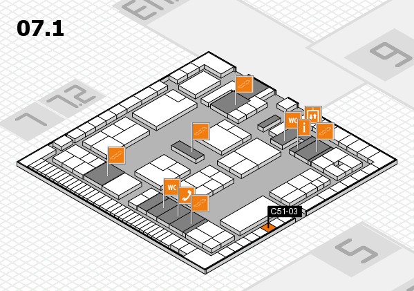 K 2016 hall map (Hall 7, level 1): stand C51-03
