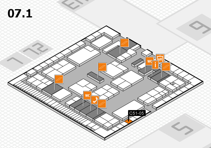 K 2016 hall map (Hall 7, level 1): stand C51-05