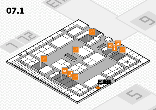 K 2016 hall map (Hall 7, level 1): stand C51-04