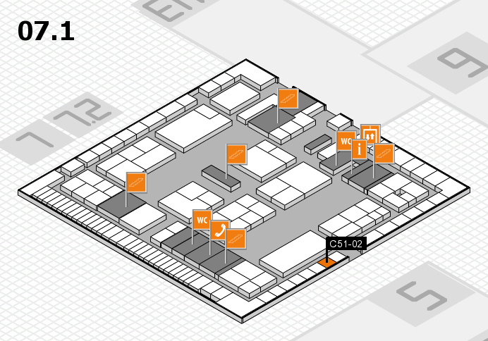 K 2016 hall map (Hall 7, level 1): stand C51-02