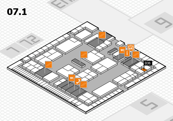 K 2016 hall map (Hall 7, level 1): stand B38
