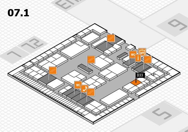 K 2016 hall map (Hall 7, level 1): stand B33
