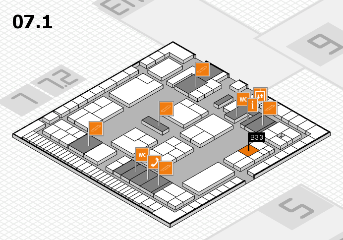 K 2016 hall map (Hall 7, level 1): stand B33