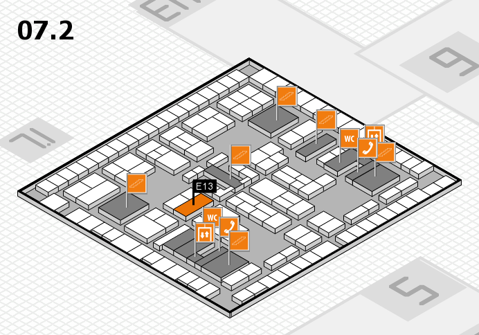 K 2016 hall map (Hall 7, level 2): stand E13