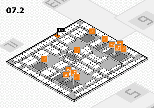 K 2016 hall map (Hall 7, level 2): stand B07