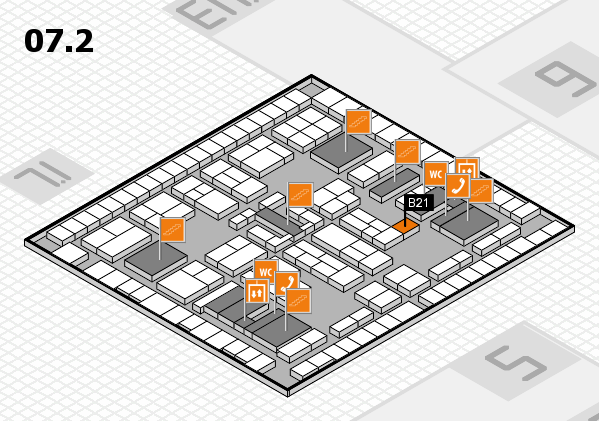 K 2016 hall map (Hall 7, level 2): stand B21