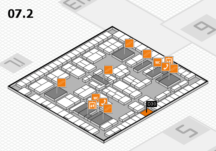 K 2016 hall map (Hall 7, level 2): stand D30
