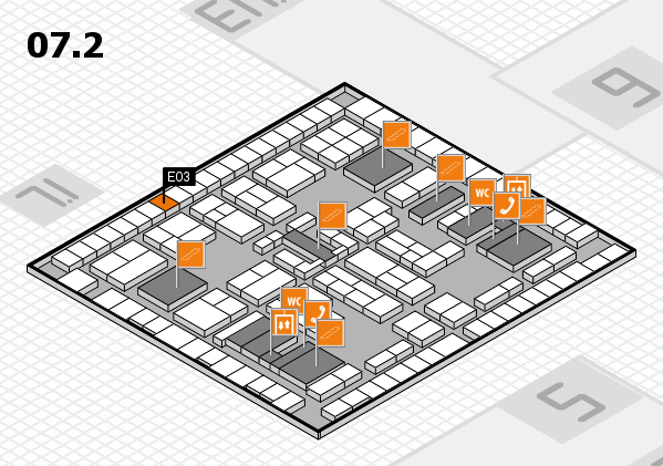 K 2016 hall map (Hall 7, level 2): stand E03