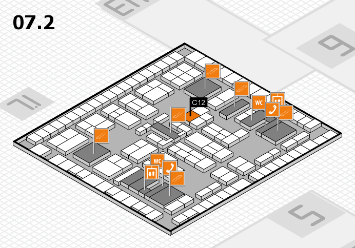 K 2016 hall map (Hall 7, level 2): stand C12