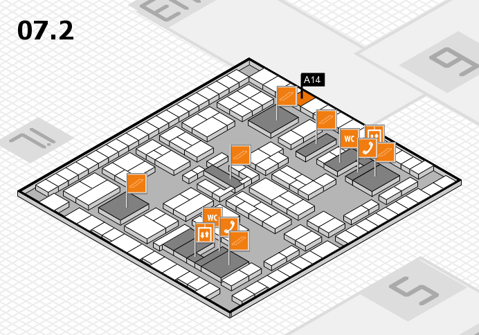 K 2016 hall map (Hall 7, level 2): stand A14