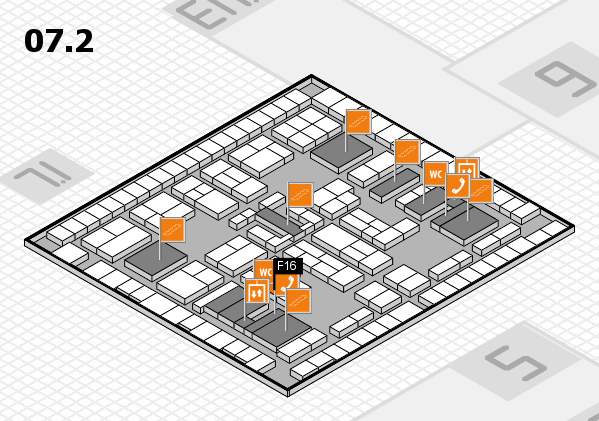 K 2016 hall map (Hall 7, level 2): stand F16