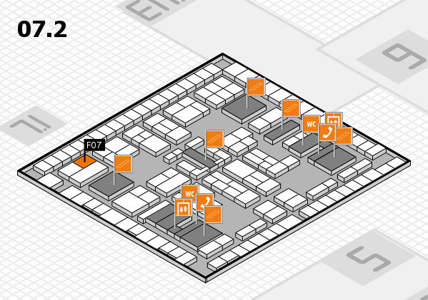 K 2016 hall map (Hall 7, level 2): stand F07