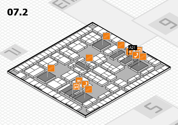 K 2016 hall map (Hall 7, level 2): stand A21
