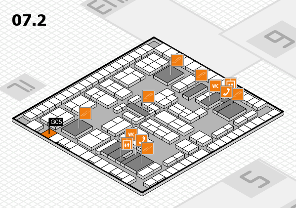 K 2016 hall map (Hall 7, level 2): stand G05