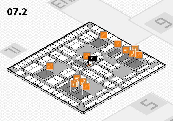 K 2016 hall map (Hall 7, level 2): stand D11