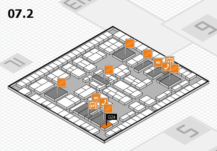 K 2016 hall map (Hall 7, level 2): stand G24