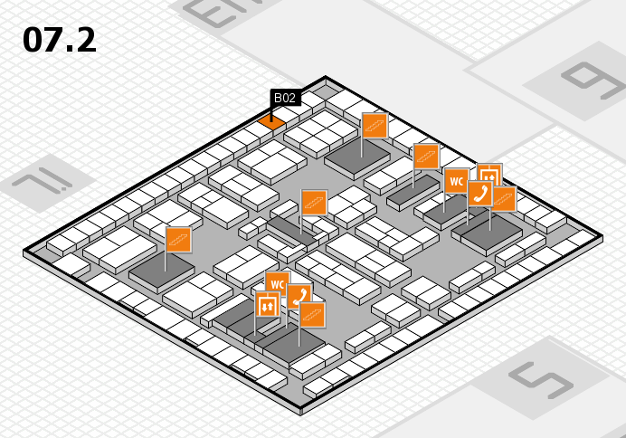K 2016 hall map (Hall 7, level 2): stand B02