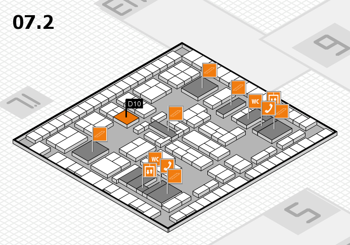 K 2016 hall map (Hall 7, level 2): stand D10