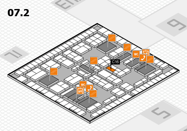 K 2016 hall map (Hall 7, level 2): stand C16