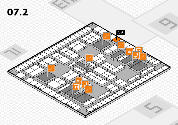 K 2016 hall map (Hall 7, level 2): stand A16