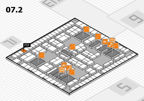 K 2016 hall map (Hall 7, level 2): stand F03