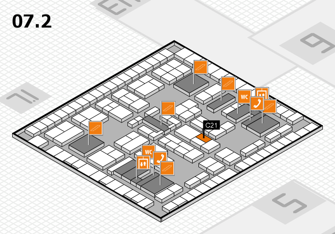 K 2016 hall map (Hall 7, level 2): stand C21