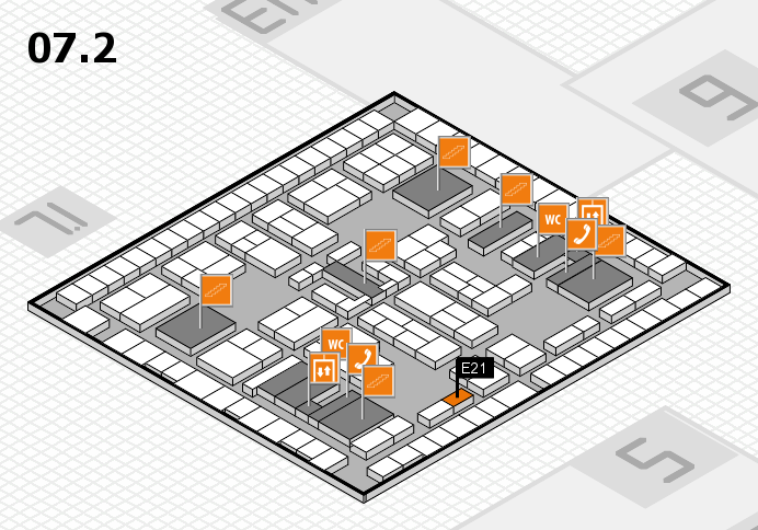 K 2016 hall map (Hall 7, level 2): stand E21
