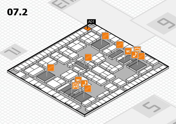 K 2016 hall map (Hall 7, level 2): stand A01