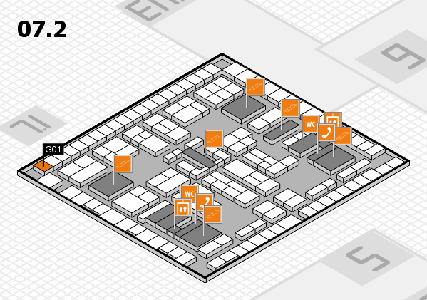 K 2016 hall map (Hall 7, level 2): stand G01