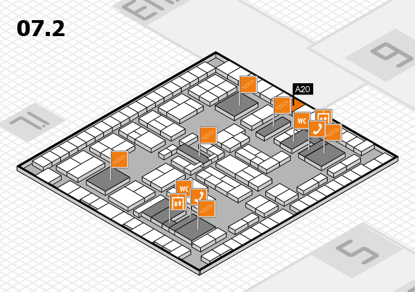 K 2016 hall map (Hall 7, level 2): stand A20