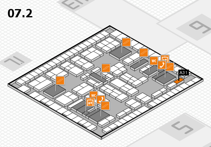 K 2016 hall map (Hall 7, level 2): stand A31