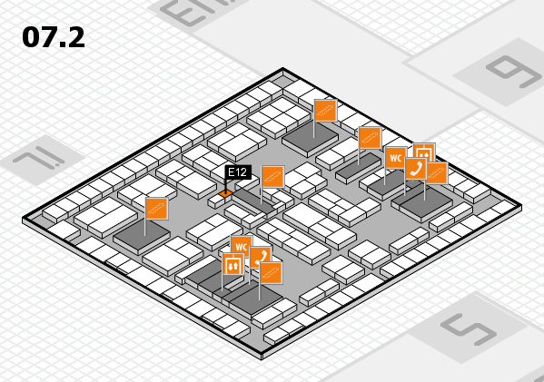 K 2016 hall map (Hall 7, level 2): stand E12