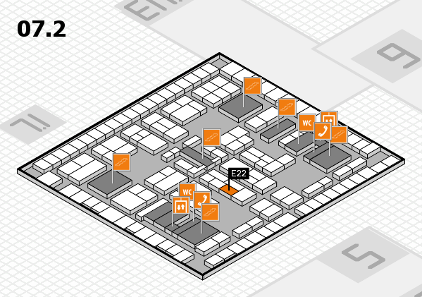 K 2016 hall map (Hall 7, level 2): stand E22
