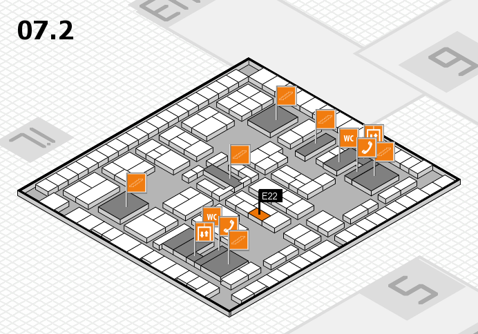 K 2016 hall map (Hall 7, level 2): stand E22