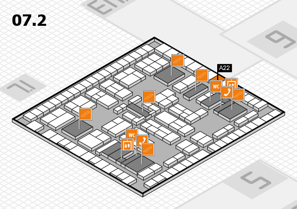 K 2016 hall map (Hall 7, level 2): stand A22