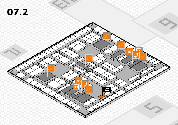 K 2016 hall map (Hall 7, level 2): stand F22