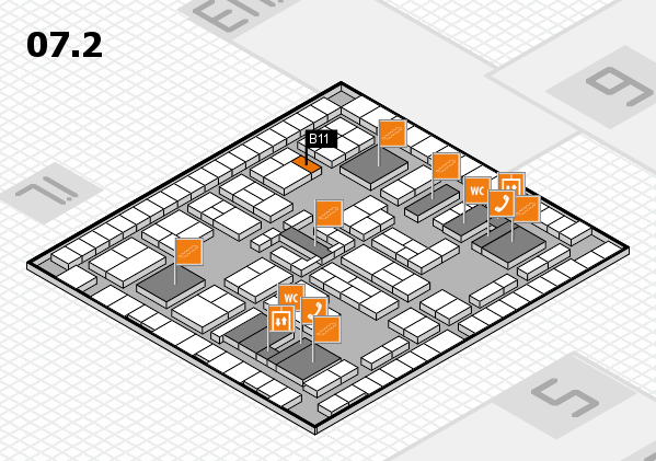 K 2016 hall map (Hall 7, level 2): stand B11