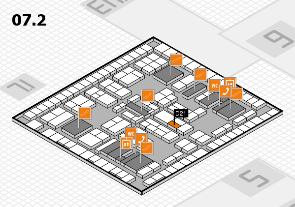 K 2016 hall map (Hall 7, level 2): stand D21