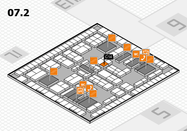 K 2016 hall map (Hall 7, level 2): stand C14