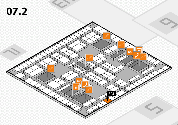 K 2016 hall map (Hall 7, level 2): stand F24