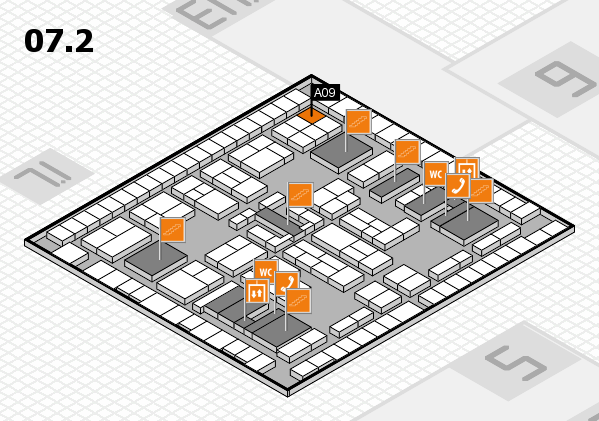 K 2016 hall map (Hall 7, level 2): stand A09
