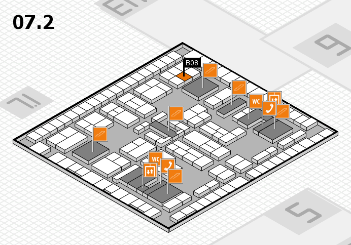 K 2016 hall map (Hall 7, level 2): stand B08