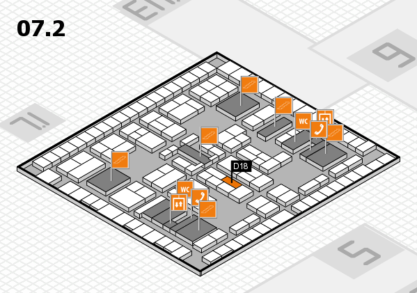 K 2016 hall map (Hall 7, level 2): stand D18
