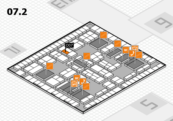 K 2016 hall map (Hall 7, level 2): stand D07