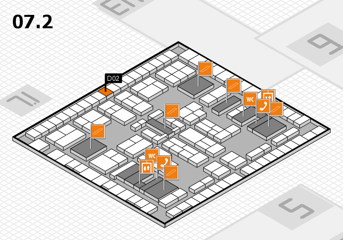 K 2016 hall map (Hall 7, level 2): stand D02